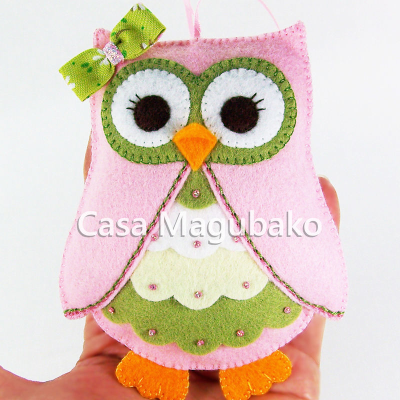 Owl Ornament - Hand Stitched - Wool Rayon Felt - PENDING - product images  of