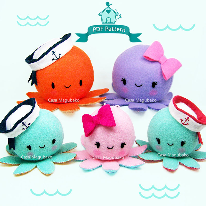 Sewing Pattern: Felt Octopus with a Bow or a Sailor's Cap – Two Sizes: Ornament or Soft Toy/Pincushion - PDF File - product images  of