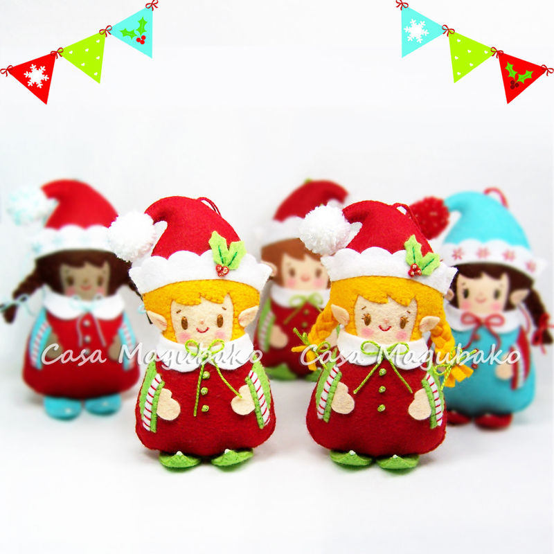 Felt Elf Ornament - Sewing Pattern - Elf Boy & Elf Girl - PDF File - product images  of