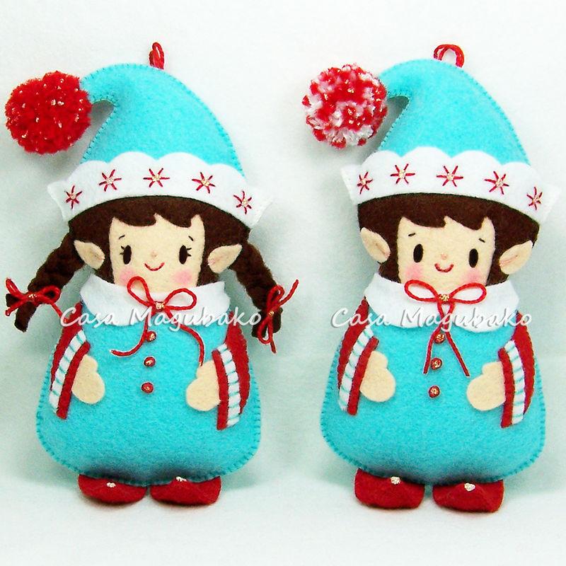 Felt Elf Ornaments Sewing Pattern Elf Boy Elf Girl Pdf File