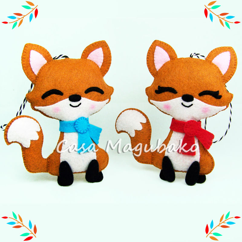 Fox Ornament Felt Pattern - Woodland Fox DIY - Felt Fox Hand Sewing Pattern - PDF File - product images  of