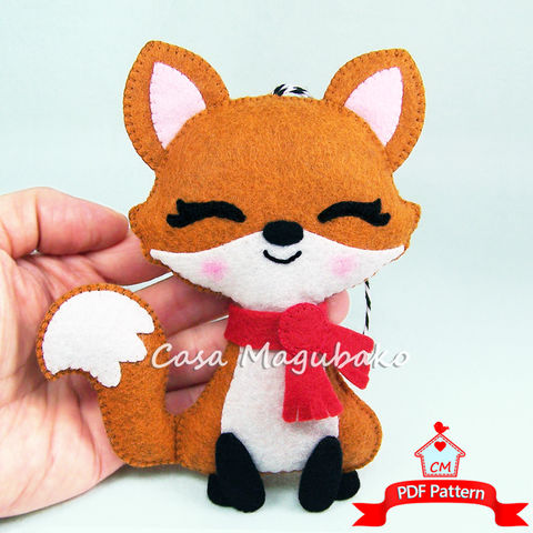 Fox,Ornament,Felt,Pattern,-,Woodland,DIY,Hand,Sewing,PDF,File,felt pattern, Woodland fox, felt fox, fox ornament, felt ornament, stuffed fox, DIY felt, sewing pattern, softie pattern, zorro en fieltro, raposa