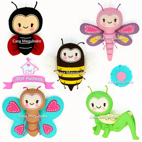 PDF,Felt,Pattern,-,Bug,Collection:,Ladybug,,Dragonfly,,Bee,,Butterfly,and,Grasshopper,+,a,Bonus,felt pattern, felt bugs, butterfly, dragonfly, bee, ladybug, grasshopper, felt ornaments, DIY felt, sewing pattern, softie pattern