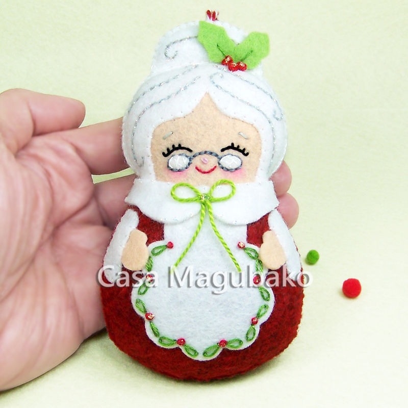 mrs claus felt ornament christmas tree decor mrs claus handmade christmas ornament - Handmade Felt Christmas Decorations