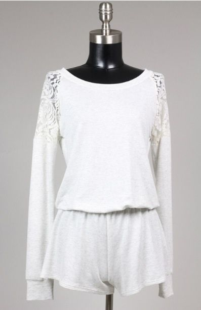 Grey Lace Romper - product image