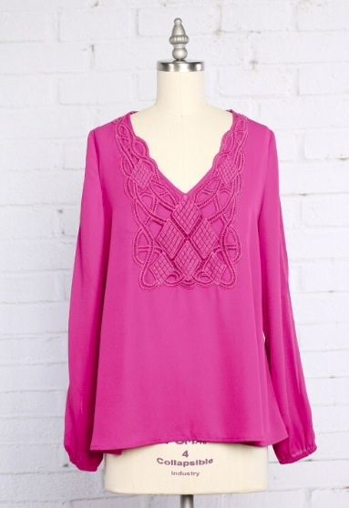 Pink Slit Sleeve Crochet Blouse - product image