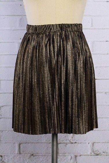 Gold and Black Metallic Pleated Skirt - product image