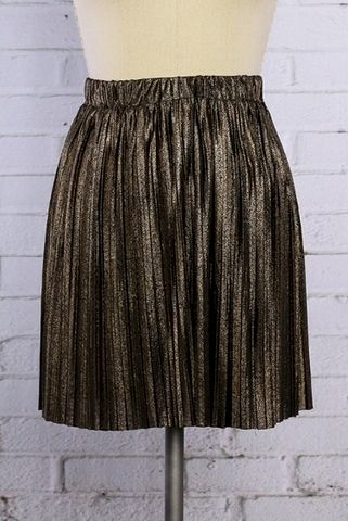 Gold,and,Black,Metallic,Pleated,Skirt,Gold and black pleated metallic skirt