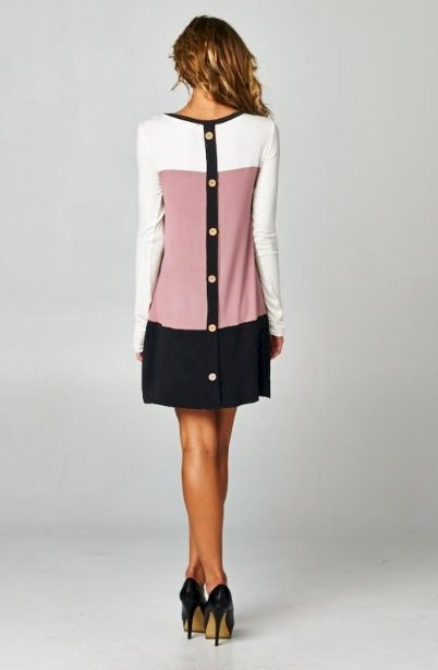 Color Block Button Back Dress - product image