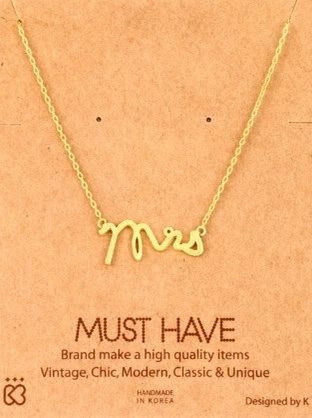 Mrs.,Gold,Necklace,Mrs. Gold necklace