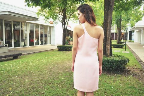 Amitara,Loathe,One,Shoulder,Light,Pink,Dress,clothing, mini dress, short dress, one shoulder dress, light pink dress, party dress, sleeveless dress, petite dress, US size 0, size extra small, size XS, bridesmaid dress