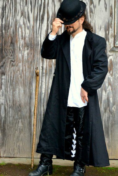 Mens Steampunk Neo Victorian Long Black Overcoat