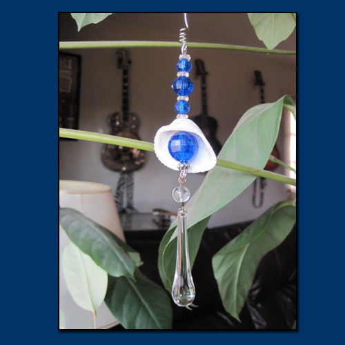 Blue Eye Catcher Ornament with Raindrop Crystal - product image