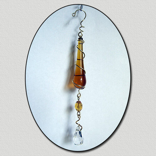Amber Raindrop Crystal Cut Prism Eye Catcher - product images  of