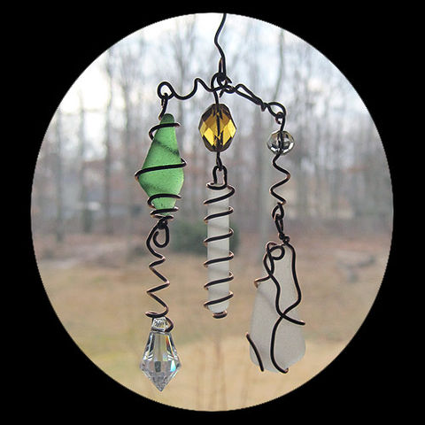 Sea,Glass,Eye-catcher,with,Copper,and,Crystals,sea glass, prism, crystal, copper, sun catcher, eye catcher, one of a kind
