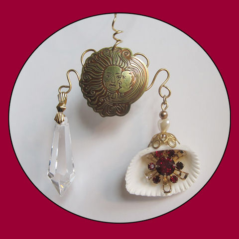 Ruby,Red,and,Brass,Eye,Catcher,For,Lovers,prism, sun catcher, brass wire, chandelier, vintage earring, ruby red, sun moon embrace