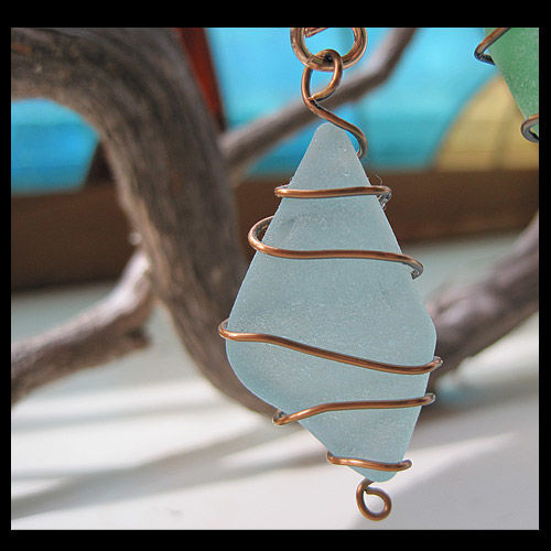 Sand In A Bottle and Sea Glass Eye Catcher Ornament - product image