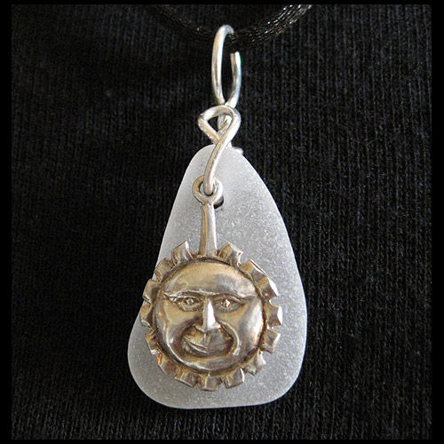 White Sea Glass and Sterling Silver Sun Face Pendant - product images  of