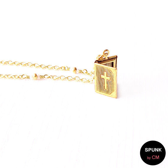 Gold Chain Necklace - Czech Glass Beads, Brass - The Basics: Cross Bible Locket - product images  of