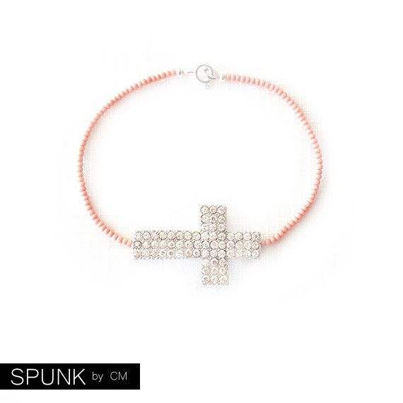 Minimalist Beaded Silver Bracelet - Czech Glass Beads - Pink - The Skinny: Cross Crystal - product images  of
