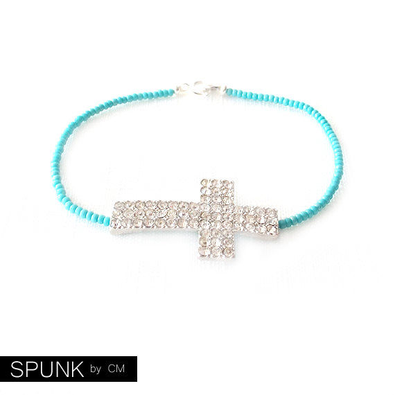 Minimalist Beaded Silver Bracelet - Czech Glass Beads - Turquoise - The Skinny: Cross Crystal - product images  of