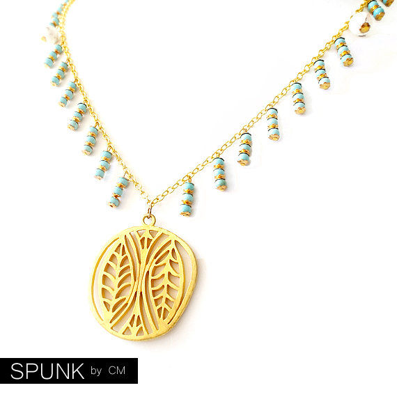 Gold Chain Gemstone Necklace - Magnesite - Turquoise - The Bohemian: Fringe Leaf Pendant - product images  of