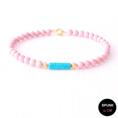 Gold,Gemstone,Bracelet,-,Riverstone,,Magnesite,,Brass,Turquoise,,Pink,,The,Stoned:,Filigree,5mm,Round,Jewelry,turquoise_bracelet,pink_stone_bracelet,minimalist_jewelry,gemstone_bracelet,jewelry_for_teens,cotton_candy_pink,magnesite_bracelet,bohemian_jewelry,gold_boho_bracelet,simple_gold_jewelry,gold_boho_jewelry,spunkbycm_etsy,toronto_jewelry,br