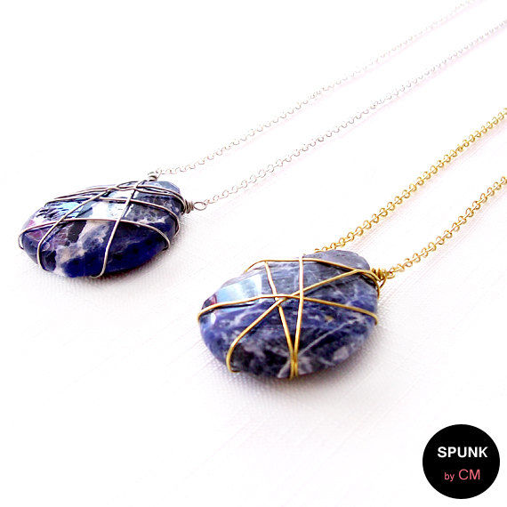 Gold Gemstone Necklace - Wire Wrapped - Sodalite - Blue, White, Gold - The Stoned: Teardrop - product images  of