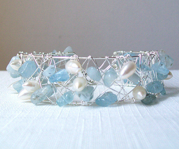 Gemstone Bracelet, Pearl Bracelet, Aquamarine Bracelet, Silver Bracelet, Cuff Bracelet, Wire Wrapped Jewelry, Freshwater Pearls - The Caged - product images  of