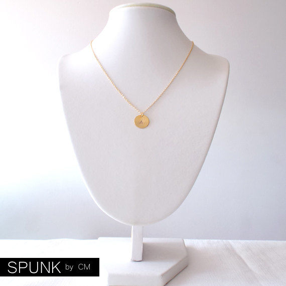 Minimalist Gold Chain Necklace - Personalized Tag - Monogram Initials - The Basics: Circle Italic - product images  of