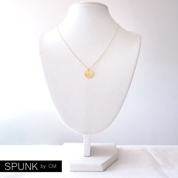 Minimalist Gold Chain Necklace - Personalized Tag - The Basics: Circle Hello - product images  of