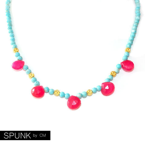 Gold,Gemstone,Beaded,Necklace,-,Chalcedony,,Riverstone,,Brass,Hot,Pink,,Turquoise,The,Bohemian:,Five,Teardrops,Daisy,Jewelry,gemstone_necklace,chalcedony_necklace,hot_pink_necklace,gold_turquoise_pink,gold_daisy_necklace,teardrop_necklace,gold_bridal_jewelry,gold_boho_jewelry,gold_beaded_necklace,gold_summer_wedding,jewelry_for_teens,festival_jewelry,spunkbycm_
