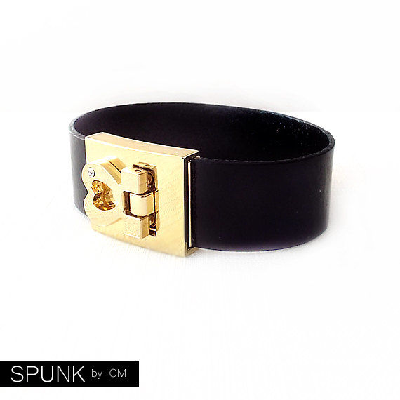 Leather Cuff Bracelet - Genuine Leather - Black, Gold - The Basics: 20mm Strap Heart Buckle - product images  of