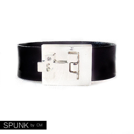 Leather Cuff Bracelet - Genuine Leather - Black, Silver - The Basics: 20mm Strap Cross Buckle - product images  of
