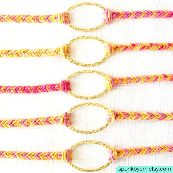 Gold Hemp Bracelet - Braided - Hemp, Brass - Pink, Orange, Yellow, Gold - The Bohemian: Horizon Triple Wrap - product images  of