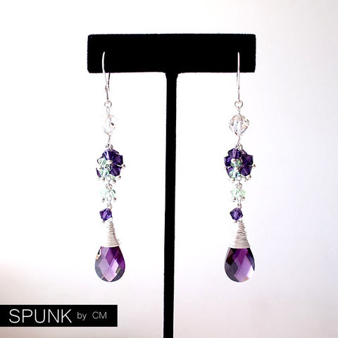 Sterling,Silver,Dangle,Earrings,-,Zirconia,,Swarovski,Crystals,Purple,,Green,,Clear,The,Cocktail:,Wire,Wrapped,Jewelry,cocktail_jewelry,long_dangle_earrings,Swarovski_crystal,bridal_jewelry,bridesmaid_earrings,silver_drop_earrings,purple_drop_earrings,crystal_earrings,zirconia_earrings,spunkbycm_etsy,toronto_jewelry,black_friday,fancy_drop_earrings,sterli