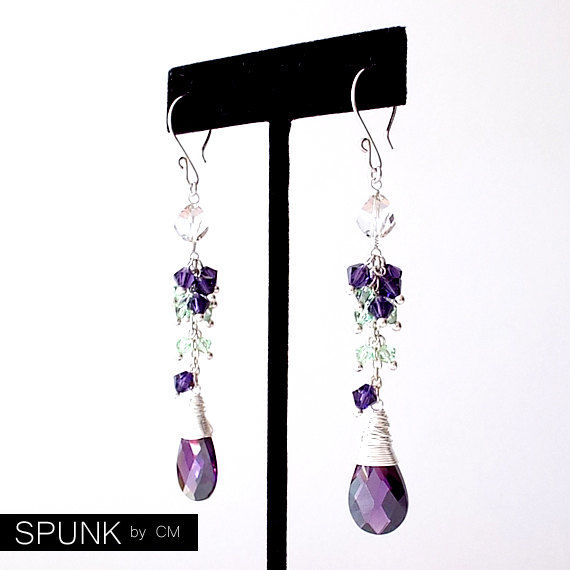 Sterling Silver Dangle Earrings - Zirconia, Swarovski Crystals - Purple, Green, Clear - The Cocktail: Wire Wrapped - product images  of