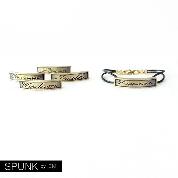 Round Leather Bracelet - Affirmation Word - Gold, Black - The Basics: 2mm Double Strand Wisdom - product images  of