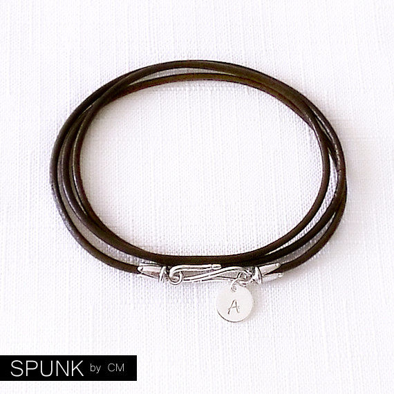 Round Leather Bracelet - Personalized Handstamped Sterling Silver Tag - Italic Monogram - Brown Bracelet - The Basics: 2mm Triple Wrap - product images  of