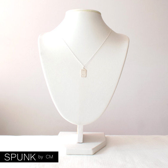 Minimalist Sterling Silver Necklace - Personalized Hand Stamped Tag - The Basics: Rectangle Crossed Arrows Monogram Initial - product images  of