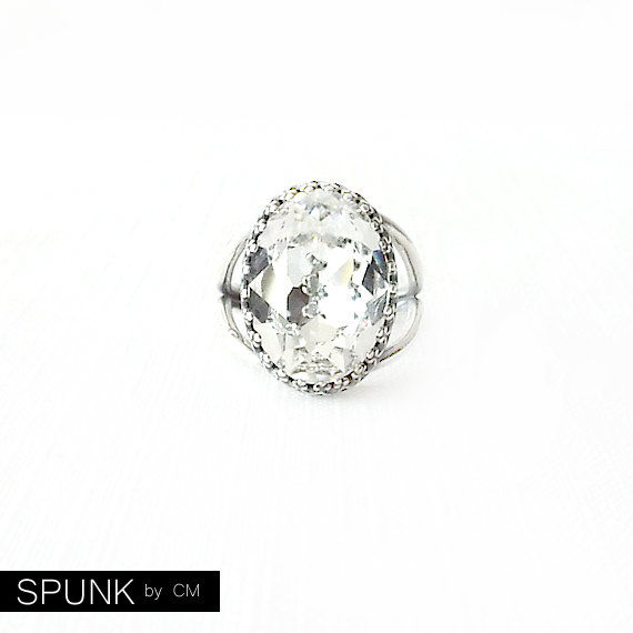 Silver Cocktail Ring - Swarovski Crystal, Brass - Crystal Clear - The Cocktail: Large Oval Bezel Set - product images  of
