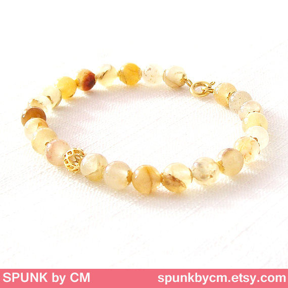 Gold Gemstone Bracelet - Quartz - Light Yellow Brown, Gold - The Stoned: Speckled Filigree 6mm Round - product images  of
