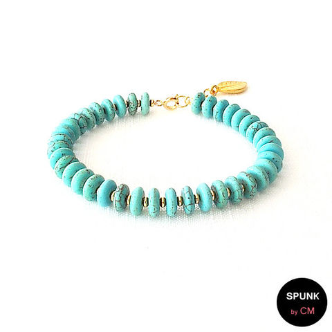Gold,Gemstone,Bracelet,-,Magnesite,Turquoise,,The,Stoned:,Heishi,Leaf,Dangle,Jewelry,gold_bead_bracelet,magnesite_bracelet,gemstone_bracelet,bridal_jewelry,wedding_jewelry,boho_jewelry,bohemian_jewelry,bridesmaid_jewelry,turquoise_bracelet,minimalist_jewelry,jewelry_for_teens,spunkbycm,heishi_bracelet,magnesite,gold plate