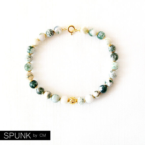 Gold Gemstone Bracelet - Tree Agate - Green, White, Gold - The Stoned: Speckled Filigree 6mm Round - product images  of