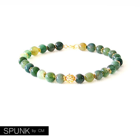 Gold,Gemstone,Bracelet,-,Moss,Agate,Green,,The,Stoned:,Speckled,Filigree,6mm,Round,Jewelry,gold_bracelet,reiki_jewelry,minimalist_bracelet,gemstone_bracelet,beaded_bracelet,jewelry_for_teens,brown_gold_bracelet,green_bracelet,moss_agate_bracelet,gold_gemstone,toronto_jewelry,green_gold_jewelry,black_friday,brass,gold plated,mos