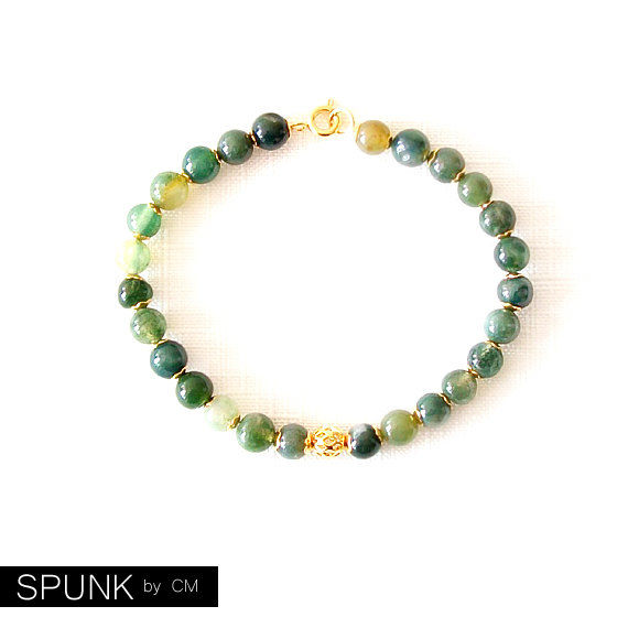 Gold Gemstone Bracelet - Moss Agate - Green, Gold - The Stoned: Speckled Filigree 6mm Round - product images  of