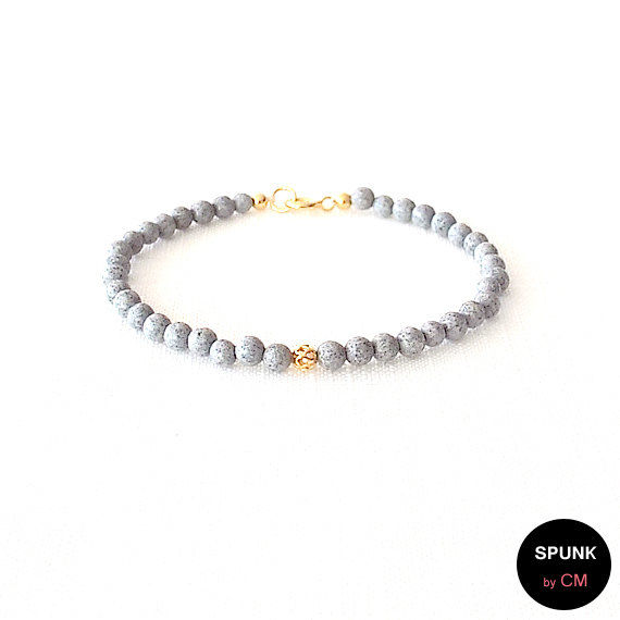 Gold Gemstone Bracelet - Feldspar - Spotted, Grey, Gold - The Stoned: Filigree 4mm Round - product images  of