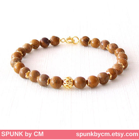Gold,Gemstone,Bracelet,-,Jasper,Brown,,The,Stoned:,Speckled,Filigree,6mm,Round,Jewelry,gold_bracelet,black_friday,cyber_monday,spunkbycm,reiki_jewelry,minimalist_bracelet,gemstone_bracelet,beaded_bracelet,jewelry_for_teens,brown_gold_bracelet,brown_bracelet,earthtone_jewelry,natural_jewelry,brass,gold plated,jasper