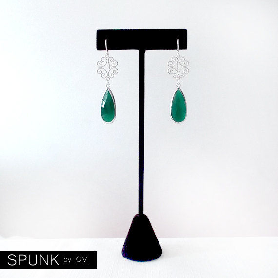 Sterling Silver Dangle Earrings - Green Onyx - Green - The Cocktail: Filigree Teardrop - product images  of