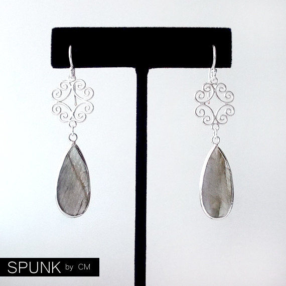 Sterling Silver Dangle Earrings - Labradorite - Smoke Grey - The Cocktail: Filigree Teardrop - product images  of